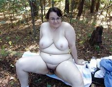 Hairy granny outdoors. Amateur..