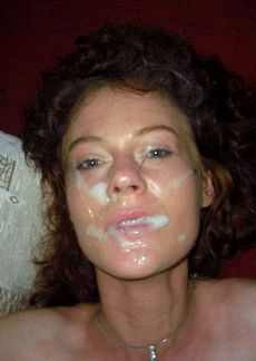 Curly houwife with lots of cum on..